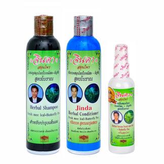 Набор травяной шампунь, кондиционер и лечебный лосьон Jinda от выпадения волос