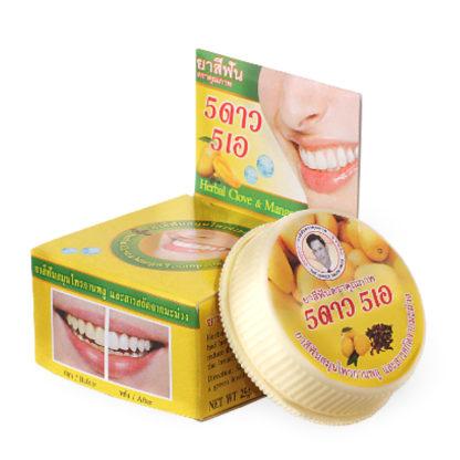 Тайская круглая зубная паста 5 Звезд 5А с гвоздикой и манго 25 г